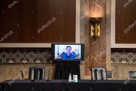 James Comey, Former Director Of The Federal Bureau Of Investigation testifies remotely before the Senate Judiciary Committee during an oversight hearing to examine the Crossfire Hurricane Investigation in Washington DC., on Wednesday, September 30, 2020.