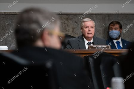 United States Senator Lindsey Graham (Republican of South Carolina), Chairman, US Senate Judiciary Committee asks questions to James Comey, Former Director Of The Federal Bureau Of Investigation before the Senate Judiciary Committee during an oversight hearing to examine the Crossfire Hurricane Investigation in Washington DC., on Wednesday, September 30, 2020.