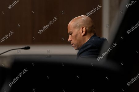 United States Senator Cory Booker (Democrat of New Jersey) asks questions to James Comey, Former Director Of The Federal Bureau Of Investigation as he testifies remotely before the Senate Judiciary Committee during an oversight hearing to examine the Crossfire Hurricane Investigation in Washington DC., on Wednesday, September 30, 2020.