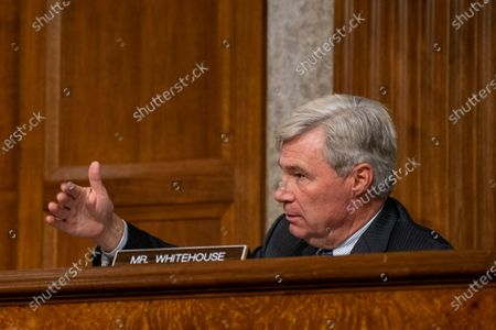 United States Senator Sheldon Whitehouse (Democrat of Rhode Island) asks questions to James Comey, Former Director Of The Federal Bureau Of Investigation as he testifies remotely before the Senate Judiciary Committee during an oversight hearing to examine the Crossfire Hurricane Investigation in Washington DC., on Wednesday, September 30, 2020.