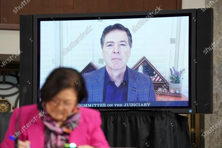 James Comey, former director of the Federal Bureau of Investigation (FBI), testifies via videoconference during a Senate Judiciary Committee hearing in Washington, D.C., U.S.,. The committee is exploring the FBI's investigation of the 2016 Trump campaign and Russian election interference.