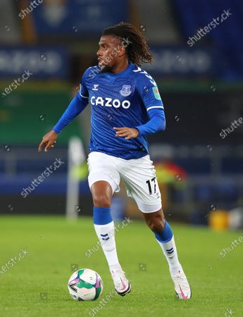 Stock Image of Alex Iwobi of Everton in action during the English Carabao Cup 4th round match between Everton and West Ham United in Liverpool, Britain, 30 September 2020.