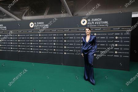 Juliette Binoche poses on the Green Carpet during the 16th Zurich Film Festival (ZFF) in Zurich, Switzerland, 30 September 2020.