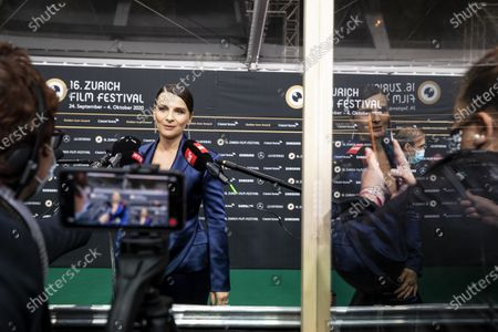 Stock Image of Juliette Binoche poses on the Green Carpet during the 16th Zurich Film Festival (ZFF) in Zurich, Switzerland, 30 September 2020.