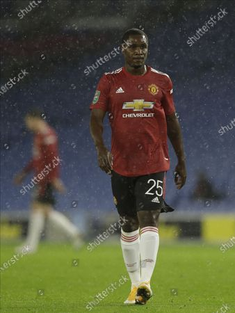Odion Ighalo of Manchester United reacts during the English Carabao Cup 4th round soccer match between Brighton Hove Albion and Manchester United in Brighton, Britain, 30 September 2020.
