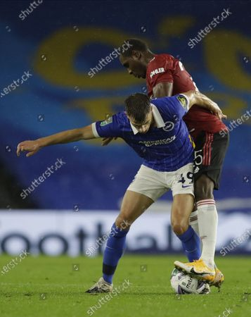 Stock Picture of Jayson Molumby (L) of Brighton in action against Odion Ighalo (R) of Manchester United during the English Carabao Cup 4th round soccer match between Brighton Hove Albion and Manchester United in Brighton, Britain, 30 September 2020.