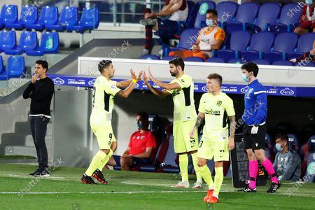 """Luis Suarez, Diego Costa (Atletico) - Football / Soccer : Spanish """"La Liga Santander"""" match between SD Huesca 0-0 Atletico de Madrid at the Estadio El Alcoraz in Huesca, Spain."""