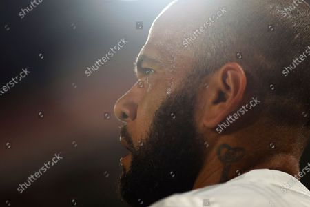 Daniel Alves of Brazil's Sao Paulo during a Copa Libertadores Group D soccer match against Argentina's River Plate in Buenos Aires, Argentina