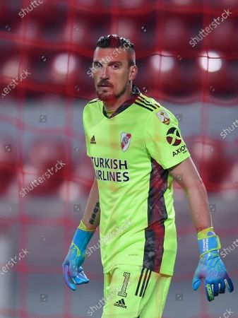 Goalkeeper Franco Armani of Argentina's River Plate during a Copa Libertadores Group D soccer match against Brazil's Sao Paulo in Buenos Aires, Argentina