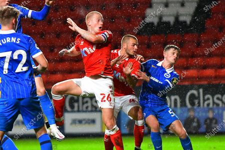 Stock Picture of Ben Watson, Charlie Barker during the EFL Trophy Group G match between Charlton Athletic and U21 Brighton and Hove Albion at The Valley, London
