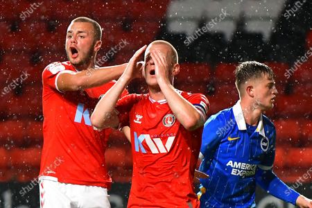 Stock Picture of Charlie Barker, Ben Watson, Sam Packham during the EFL Trophy Group G match between Charlton Athletic and U21 Brighton and Hove Albion at The Valley, London