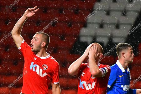 Stock Photo of Charlie Barker, Ben Watson, Sam Packham during the EFL Trophy Group G match between Charlton Athletic and U21 Brighton and Hove Albion at The Valley, London