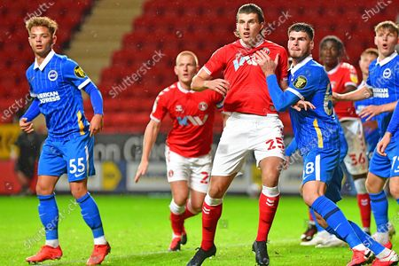 Jack Spong, Ben Watson, Josh Davison, Tudor Baluta during the EFL Trophy Group G match between Charlton Athletic and U21 Brighton and Hove Albion at The Valley, London