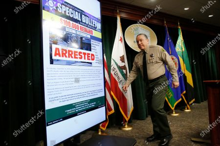 Los Angeles County Sheriff Alex Villanueva and District Attorney Jackie Lacey announce an arrest of Deonte Lee Murray in the ambush shooting of two on-duty deputies who were sitting in their marked patrol car at the Metro Blue Line station in Compton September 12, 2020. Hall Of Justice on Wednesday, Sept. 30, 2020 in Los Angeles, CA. (Al Seib / Los Angeles Times