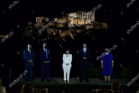 Stock Picture of From the left: President of the Onassis Foundation Antonis S. Papadimitriou, Konstantinos Tasoulas President of Hellenic parliament President of Hellenic Republic Katerina Sakellaropoulou, Greek Prime Minister Kyriakos Mitsotakis and Minister of Culture and Sports Lina Mendoni (right).