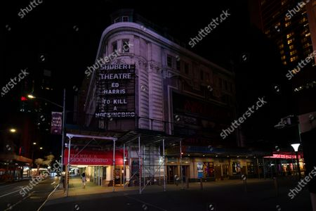 The Shubert Theatre at 225 West 44th Street, New York, NY, remains closed and dark. Posters and marquee of 'To Kill a Mockingbird,' starring Ed Harris, still adorn the theater.