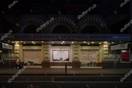 The Shubert Theatre at 225 West 44th Street, New York, NY, remains closed and dark. Posters of 'To Kill a Mockingbird,' starring Ed Harris, still adorn the theater.