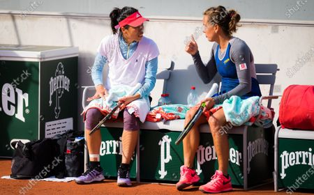 Su-Wei Hsieh of Chinese Taipeh & Barbora Strycova of the Czech Republic playing doubles at the 2020 Roland Garros Grand Slam tennis tournament
