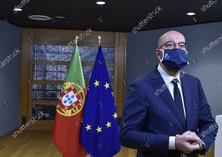 European Council President Charles Michel awaits the arrival of Portugal's Prime Minister Antonio Costa ahead of a bi-lateral meeting on the first day of a European Union (EU) summit at The European Council Building in Brussels, Belgium, 01 October 2020.