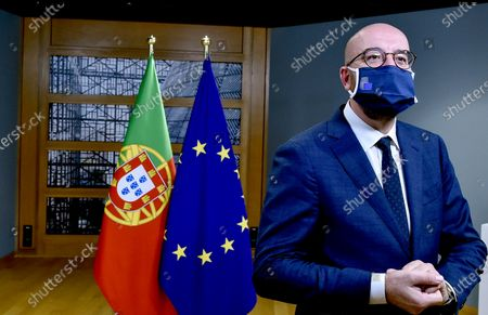 Stock Picture of European Council President Charles Michel wears a protective mask as he waits for the arrival of Portugal's Prime Minister Antonio Costa ahead of a meeting on the sidelines of an EU summit at the European Council building in Brussels