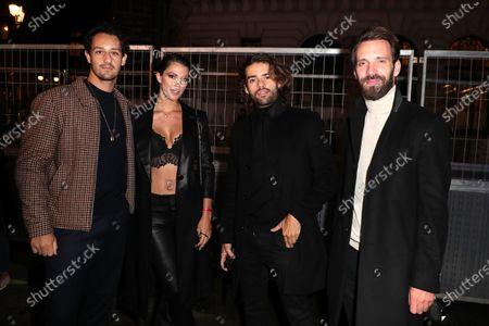 Iris Mittenaere, Diego El Glaoui, Guest, Jean-Eric Vergne arrive at Flagship Hausmann near Opera