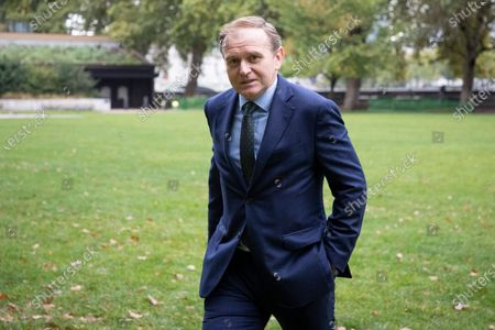 Environment Secretary George Eustice walks near Parliament after appearing on Kay Burley at Breakfast.