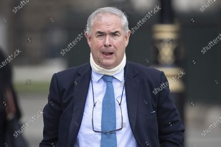 Stock Photo of Former Attorney General Geoffrey Cox arrives at The Houses of Parliament.
