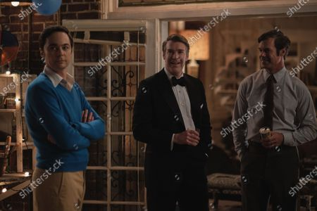 Stock Image of Jim Parsons as Michael, Brian Hutchison as Alan and Tuc Watkins as Hank