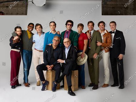 Stock Photo of Back Row:Robin De Jesus as Emory, Michael Benjamin Washington as Bernard, Matt Bomer as Donald, Jim Parsons as Michael, Zachary Quinto as Harold, Charlie Carver as Cowboy, Tuc Watkins as Hank, Andrew Rannells as Larry, Brian Hutchison as Alan Front: Joe Mantello Director and Mart Crowley Writer