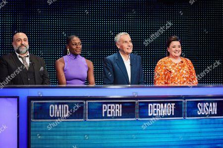 (L-R) Omid Djalili, Perri Shakes-Drayton, Dermot Murnaghan and Susan Calman