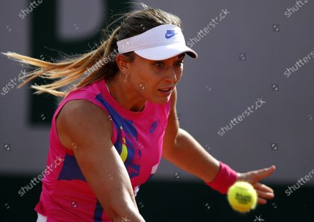 Paula Badosa of Spain in action against Sloane Stephens of the USA during their women's second round match during the French Open tennis tournament at Roland Garros in Paris, France, 01 October 2020.