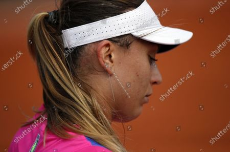 Paula Badosa of Spain during a break as she plays  Sloane Stephens of the USA during their women's second round match during the French Open tennis tournament at Roland Garros in Paris, France, 01 October 2020.