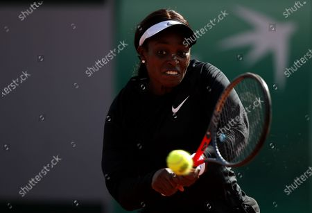 Stock Photo of Sloane Stephens of the USA in action against Paula Badosa of Spain during their women's second round match during the French Open tennis tournament at Roland Garros in Paris, France, 01 October 2020.
