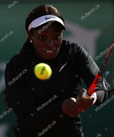 Stock Image of Sloane Stephens of the USA in action against Paula Badosa of Spain during their women's second round match during the French Open tennis tournament at Roland Garros in Paris, France, 01 October 2020.