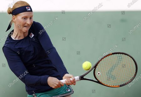 Alison Van Uytvanck of Belgium in action against Irina Bara of Romania during their women's second round match during the French Open tennis tournament at Roland Garros in Paris, France, 01 October 2020.