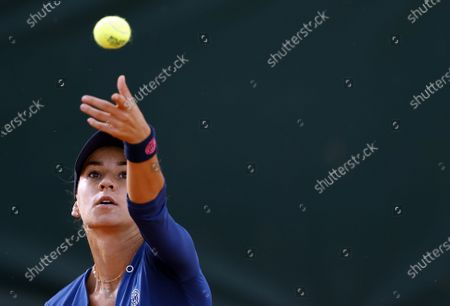 Irina Bara of Romania in action against Alison Van Uytvanck of Belgium during their women's second round match during the French Open tennis tournament at Roland Garros in Paris, France, 01 October 2020.