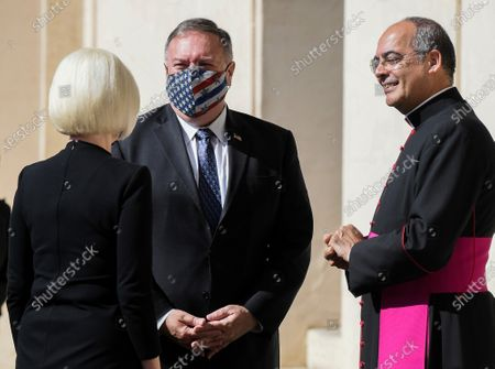 Stock Picture of U.S. Ambassador to the Holy See Callista Gingrich, U.S. Secretary of State Mike Pompeo (C), Monsignor Guillermo Karcher at the San Damaso courtyard to meet Vatican Secretary of State Cardinal Pietro Parolin, at the Vatican