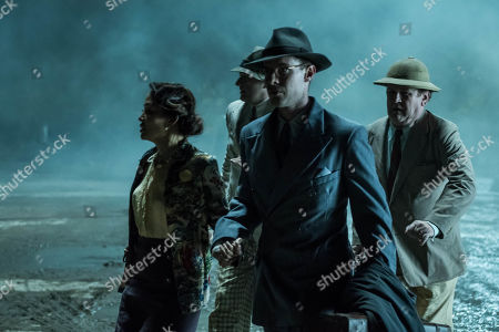 Stock Image of Luke Treadaway as Matthew Webb, Elizabeth Tan as Vera Chang, Colm Meaney as Major Archer and Christophe Guybet as Francois Dupigny.