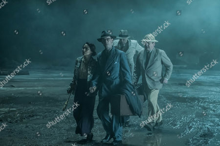 Stock Picture of Luke Treadaway as Matthew Webb, Elizabeth Tan as Vera Chang, Colm Meaney as Major Archer and Christophe Guybet as Francois Dupigny.