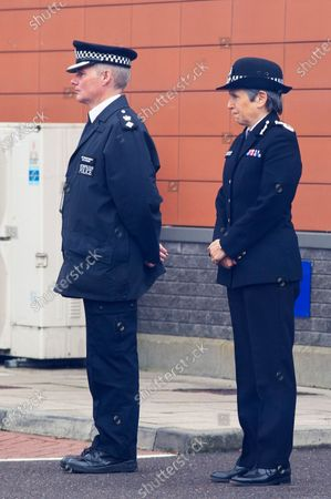 Stock Image of Cressida Dick watching the New Zealand police officer leaving. Metropolitan Police Commissioner Cressida Dick was at Croydon Custody Centre this morning for a visit. The murder investigation continues at pace after the death of police sergeant Matt Ratana almost a week ago at the Croydon Custody Centre in South London.