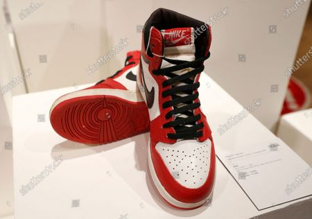 Pair of Nike Sky Jordan 1, 1985 with Chicago Bulls White, Black and Red colourway at Bonhams auction house, part of the Pop Culture sale in London, . This pair is estimated at 14,000-16,000 UK pounds (18,000-20,000 US dollars, when sold in the auction on Oct. 8