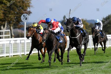 Winner of The Byerley Stud British EBF Novice Stakes (Plus 10) (Div 2) Champagne Piaff (right) ridden by Hector Crouch and trained by Gary Moore during Horse Racing at Salisbury Racecourse on 1st October 2020