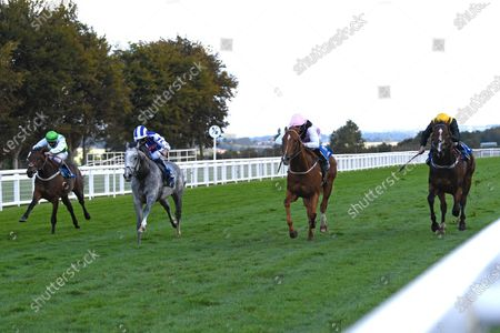 Winner of The Weatherbys TBA Conditions Stakes Apollo One  (pink) ridden by Martin Harley and trained by Peter Charalambous during Horse Racing at Salisbury Racecourse on 1st October 2020