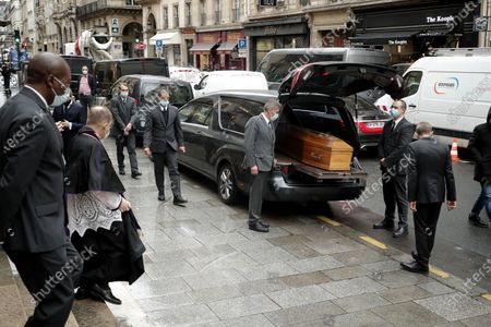 The coffin of late French actor Michael Lonsdale arrives by car for a funeral ceremony at Saint Roch church in Paris, France, 01 October 2020. Lonsdale died at the age of 89 on 21 September 2020.