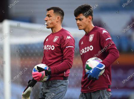 Stock Image of Goalkeepers Lovre Kalinic and Ákos Onódi of Aston Villa
