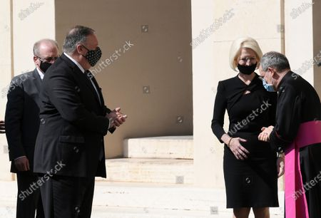 U.S. Secreatry of state Mike Pompeo, Callista Gingrich U.S. Ambassador to the Holy see, Monsignor Joseph Murphy after the meeting with Vatican Secretary of State Italian Cardinal Pietro Parolin, in the Vatican City