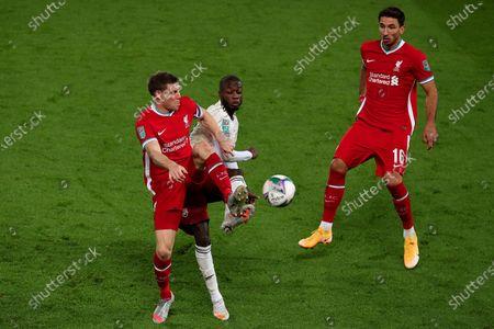 Stock Image of James Milner of Liverpool and Nicolas Pepe of Arsenal