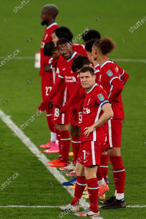 James Milner of Liverpool shows a look of dejection