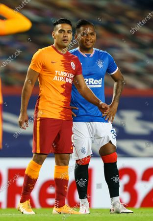 Fellow Columbians Radamel Falcao of Galatasaray & Alfredo Morelos of Rangers chat before kick off