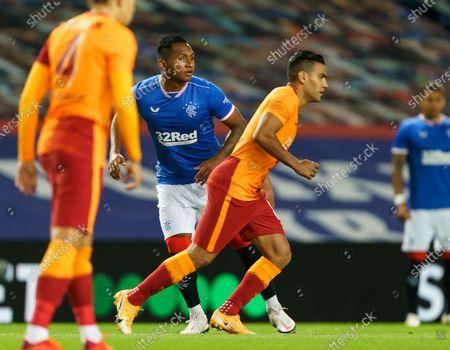Fellow Columbians Radamel Falcao of Galatasaray & Alfredo Morelos of Rangers at kick off